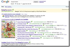 Google results kung fu london