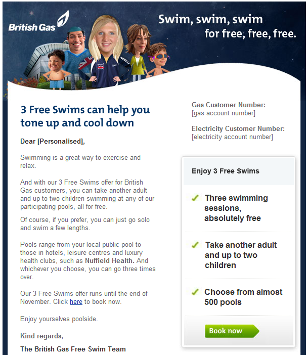 British Gas  email campaign